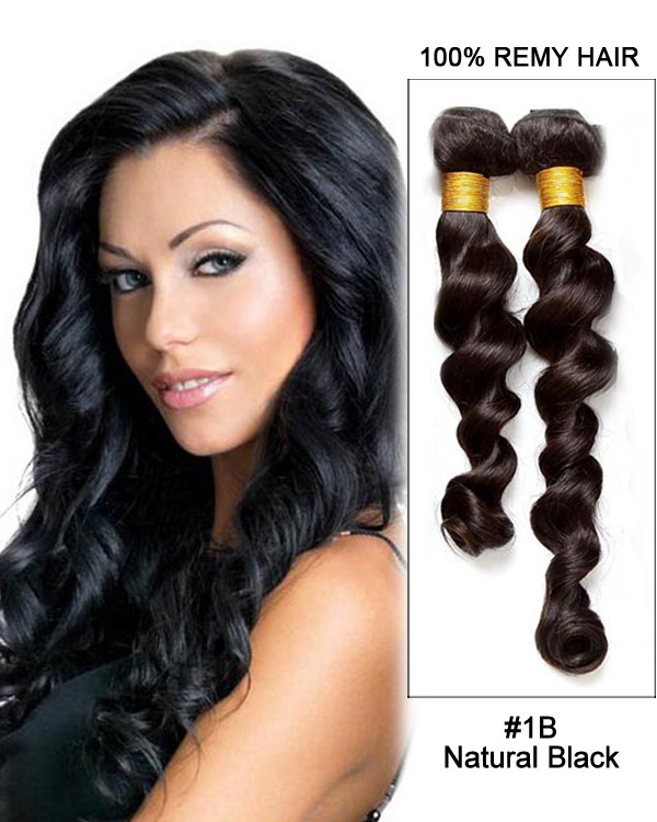 "22"" Loose Wave Remy Hair Weave Weft Human Hair Extension-#1B Natural Black"
