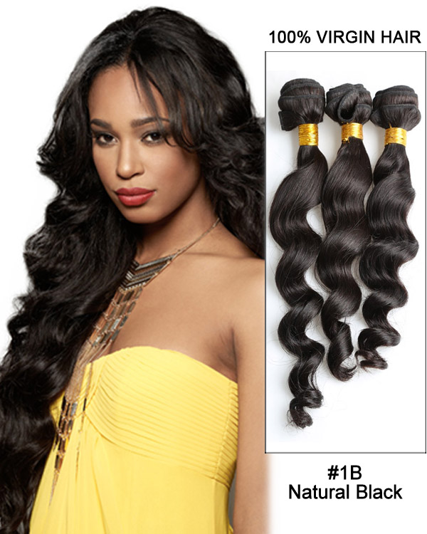 "28"" Natural Black Loose Wave Unprocessed Virgin Brazilian Hair Weave Weft Hair Extensions"