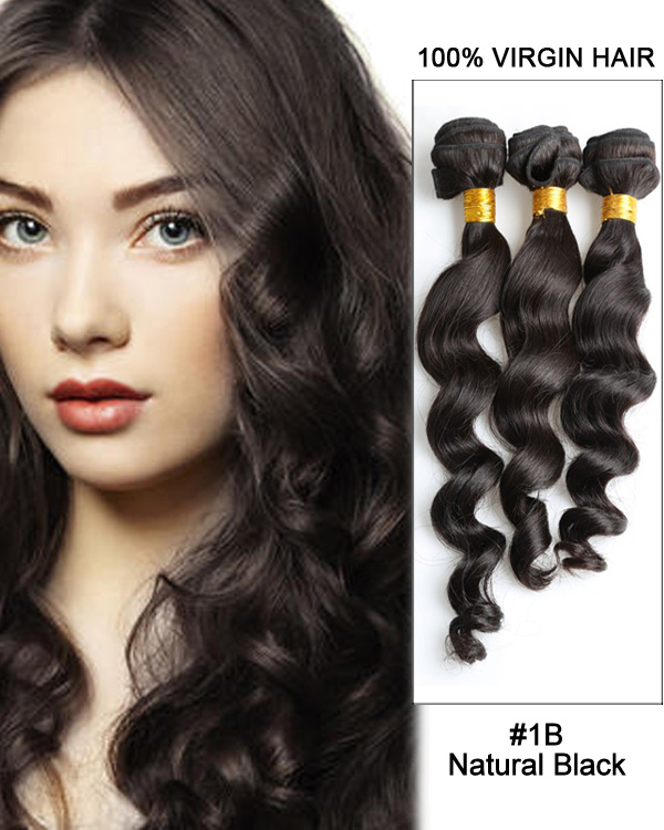 Natural Black Loose Wave 3 Bundles Brazilian Virgin Hair Weave Human Hair Extensions