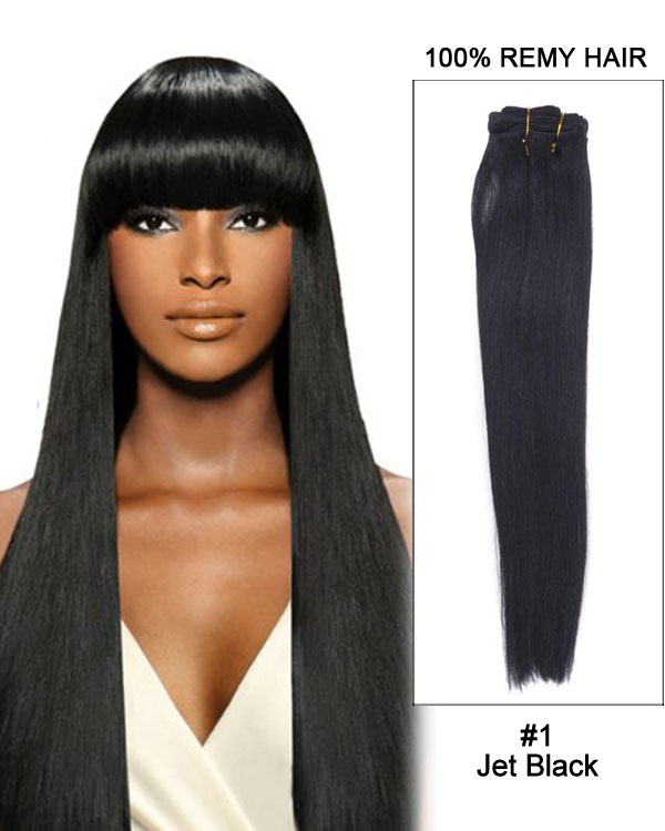 "20"" Silky Straight Brazilian Remy Hair Weave Human Hair Extensions-#1 Jet Black"