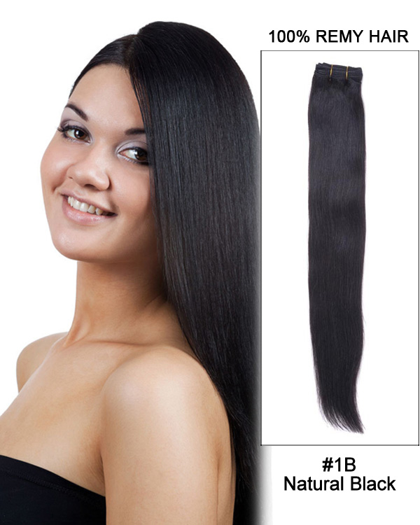 "14"" Silky Straight Brazilian Remy Hair Weave Weft Human Hair Extension- 1B  Natural 4d7d6569d"