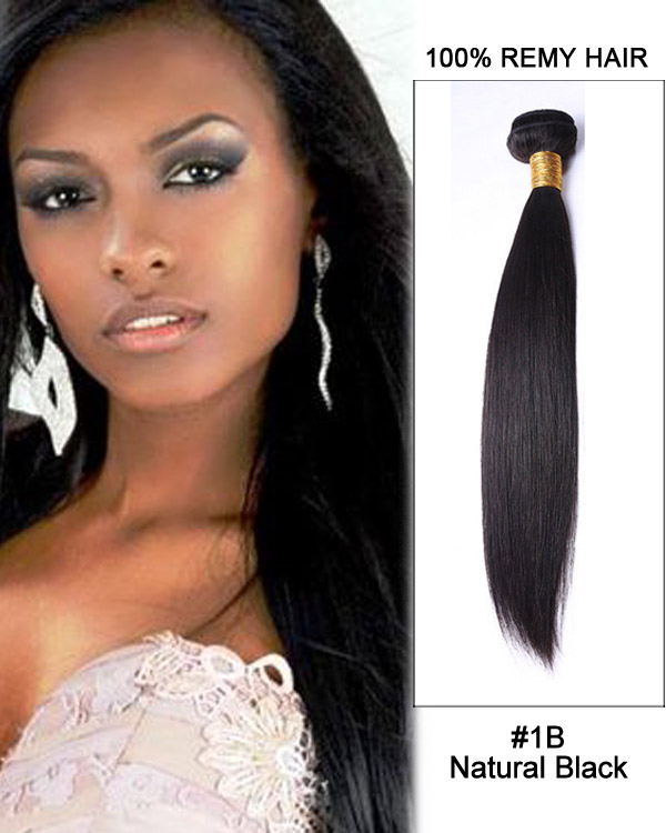"16"" #1B Natural Black Straight Weave Brazilian Virgin Hair Human Hair Extensions"