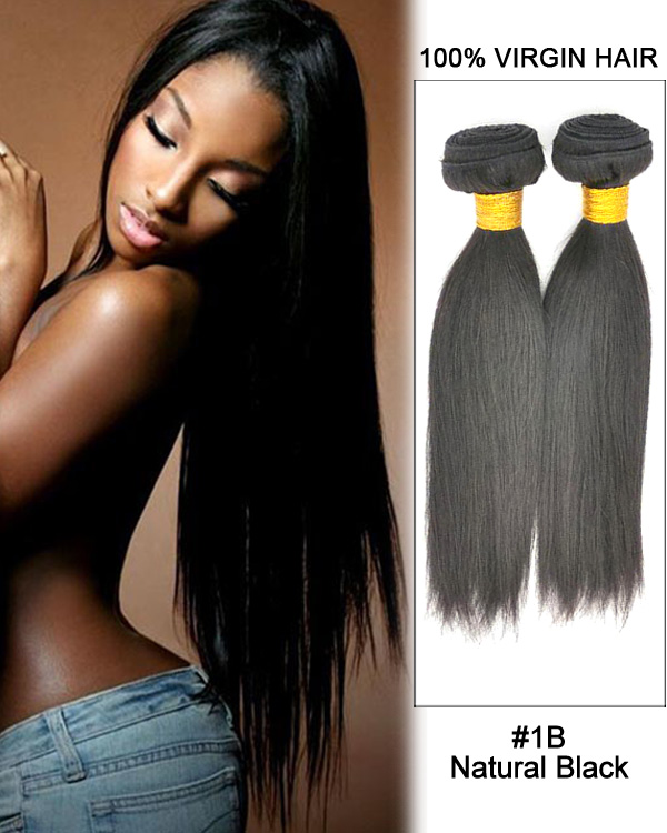 "14"" Straight Malaysian Virgin Hair Weave Weft Human Hair Extension-#1B Natural Black"