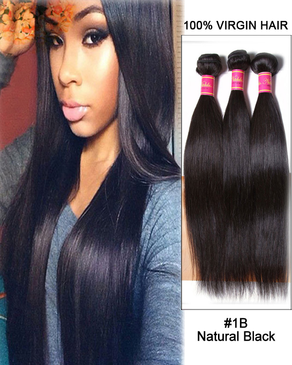 "24"" Straight Unprocessed Virgin Brazilian Hair Weave Weft Human Hair Extension-#1B Natural Black"