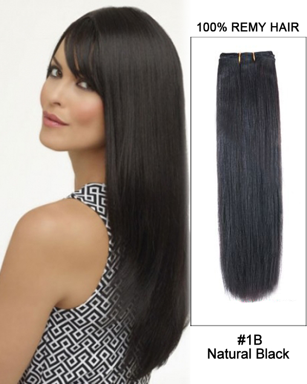 141b Natural Black Straight Weave 100 Remy Hair Weft Hair Extensions