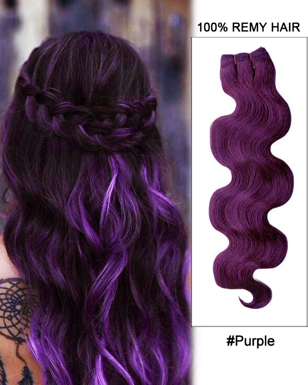 20 Purple Body Wave Weave Remy Hair Weft Hair Extensions