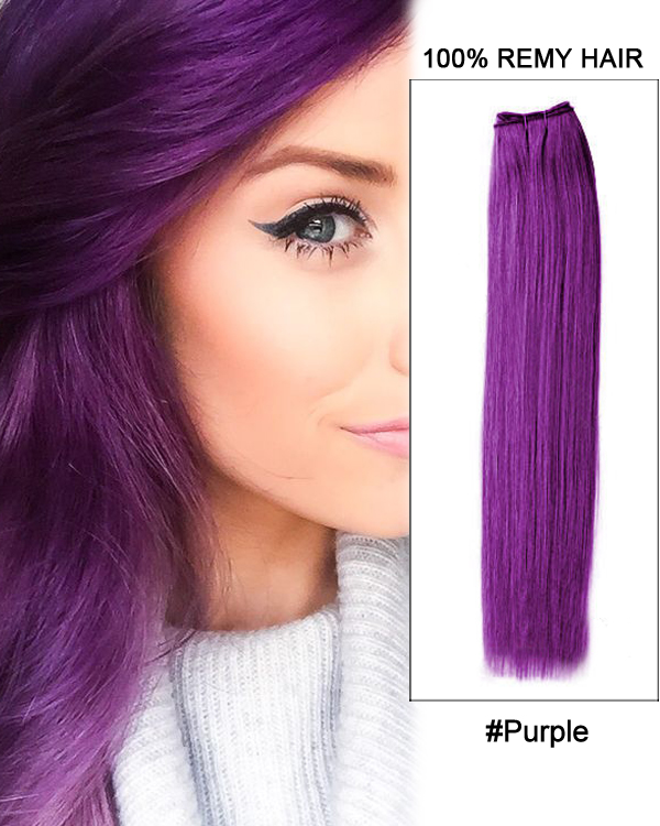 "22"" #Purple Straight Weave Remy Hair Weft Human Hair Extensions"