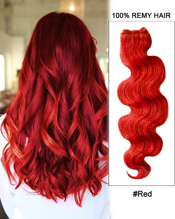 "18"" #Red Body Wave Weave Remy Hair Weft Human Hair Extensions"