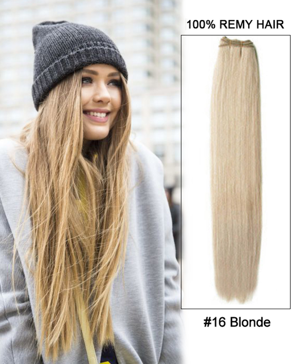 20 16 Blonde Straight Weave Remy Human Hair Extensions