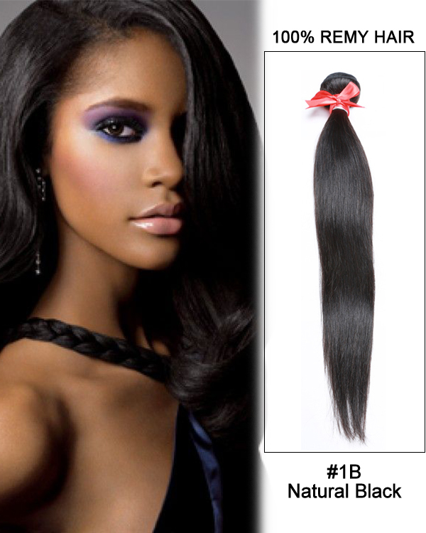 "14"" #1B Natural Black Straight Weave Brazilian Virgin Hair Human Hair Extensions"