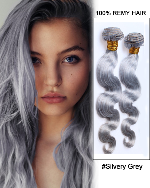 18silvery Grey Weave Body Wave Weft Remy Human Hair Extensions