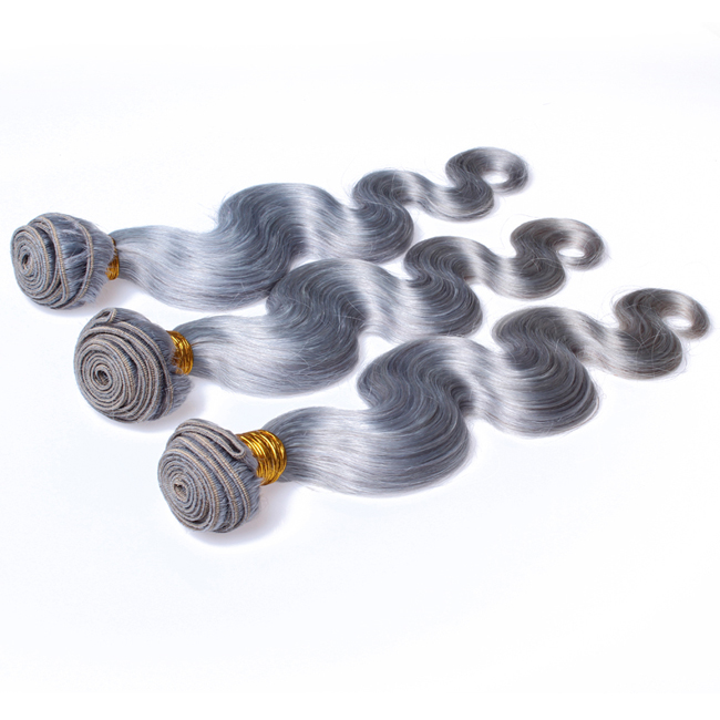 "18""Silvery Grey Weave Body Wave Weft Remy Human Hair Extensions"