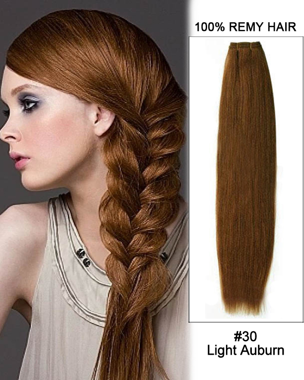 18 30 Light Auburn Straight Weave 100 Remy Hair Weft Human Hair