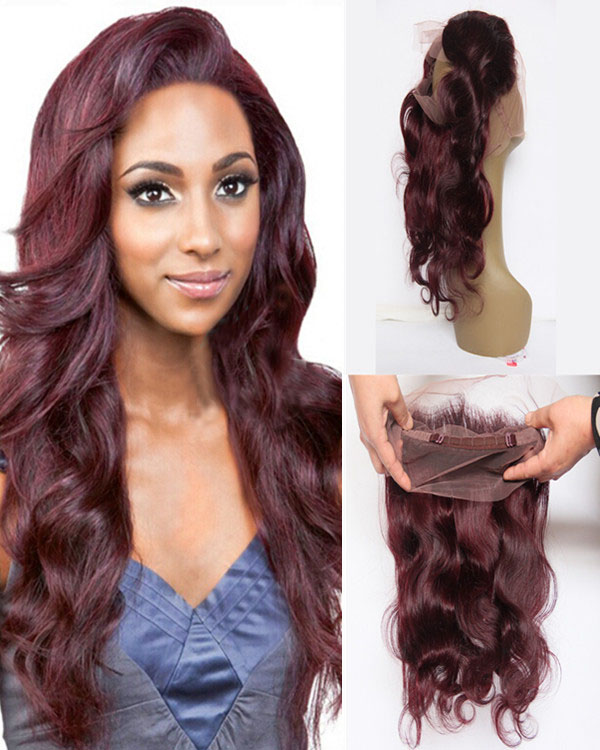 "16"" Plum Red #99J Brazilian Remy Hair 130% Density Natural Loose 360 Lace Band Frontal Closure 22.5*4*2 With Baby Hair/ Natural Hairline For Black Women"