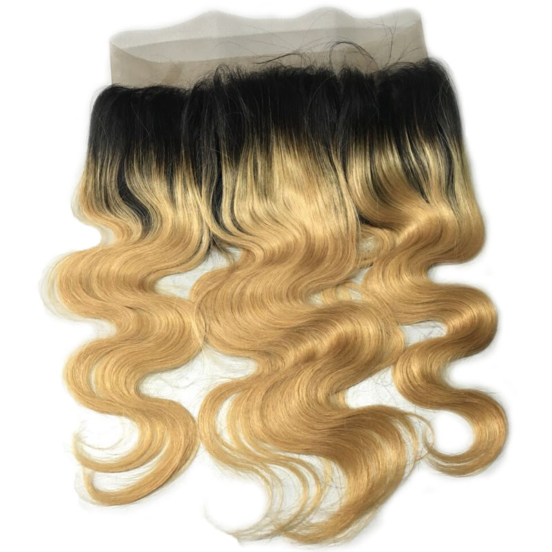 "16"" #1B/27 Ombre Brazilian Remy Hair 130% Density Body Wave 360 Lace Band Frontal Closure 22.5*4*2 With Baby Hair/ Natural Hairline For Black Women"