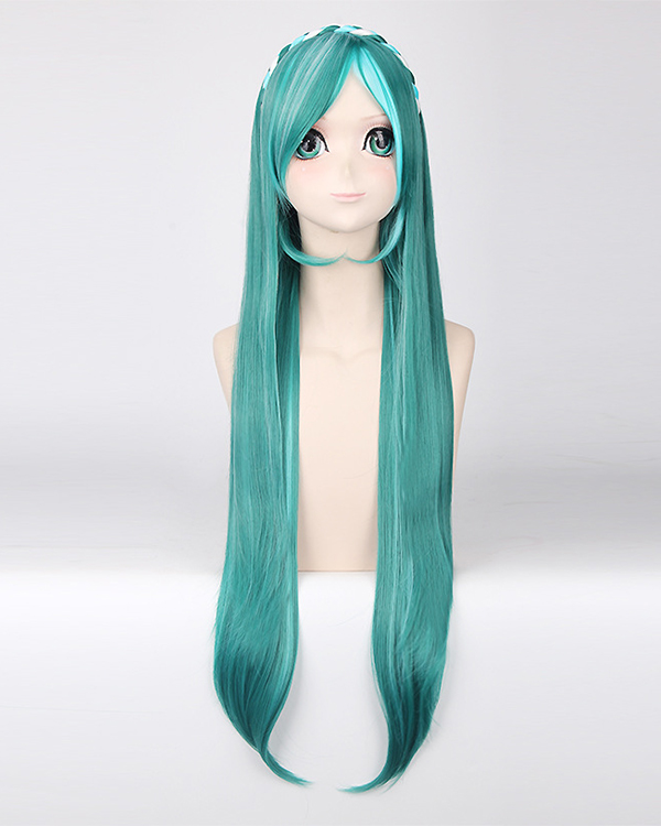 80CM Miku Long Straight Mixed Green Costume Wig Vocaloid Braiding Cosplay Wig For Themed Party Wig