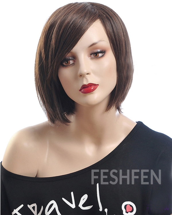 Fashion Brown Bob Style Short Straight Wigs Synthetic Hair Wig With Bangs