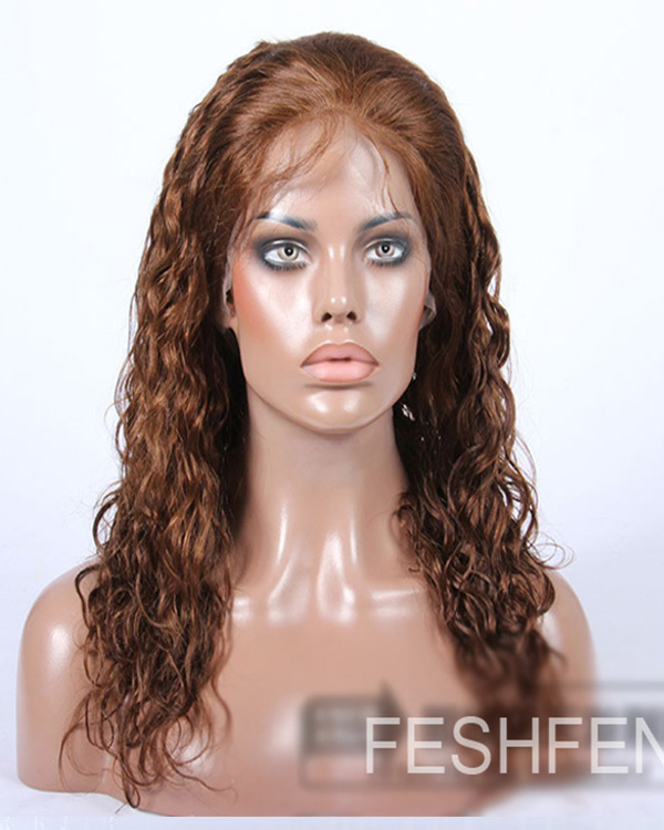 "20"" Body Wave 100% Remy Hair Full Lace Human Hair Wig-#30 Light Auburn"