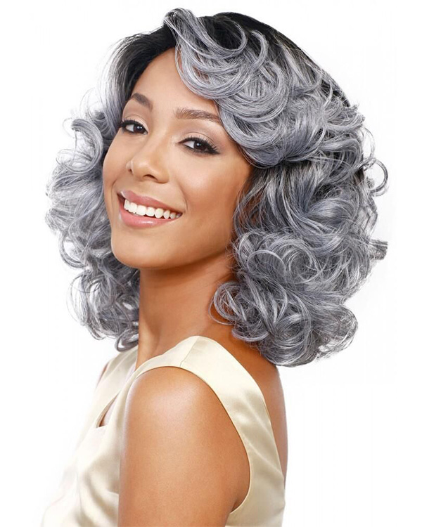 Granny Grey Ombre Wavy Medium Long Wavy Wigs Synthetic Hair Wig