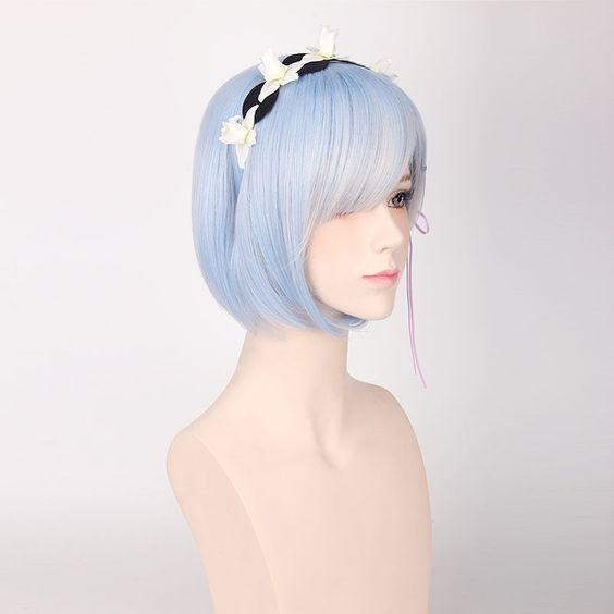 Re:Zero Rem Cosplay Wig Blue Short Costume Wig With Bangs ...