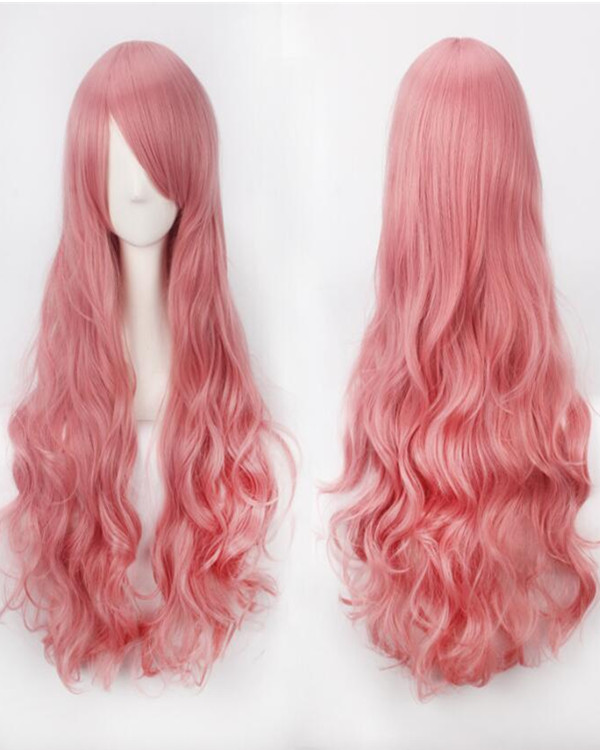 2017 New Smoky Pink Cosplay Wig Long Wavy Mermaid Costume Wig For Women Party Wig