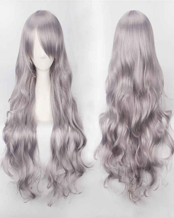 2017 New Silver Grey Cosplay Wig Long Wavy Mermaid Costume Wig For Women Party Wig