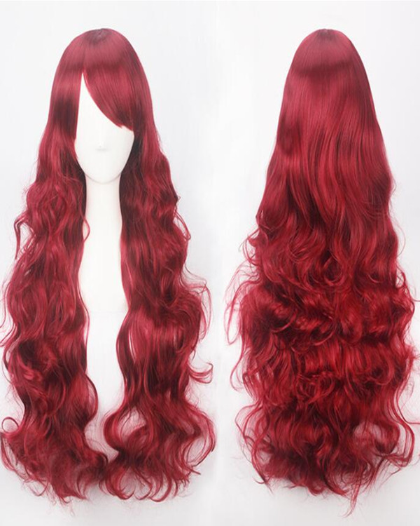 2017 New Wine Red Cosplay Wig Long Wavy Costume Wig For Women Party Wig
