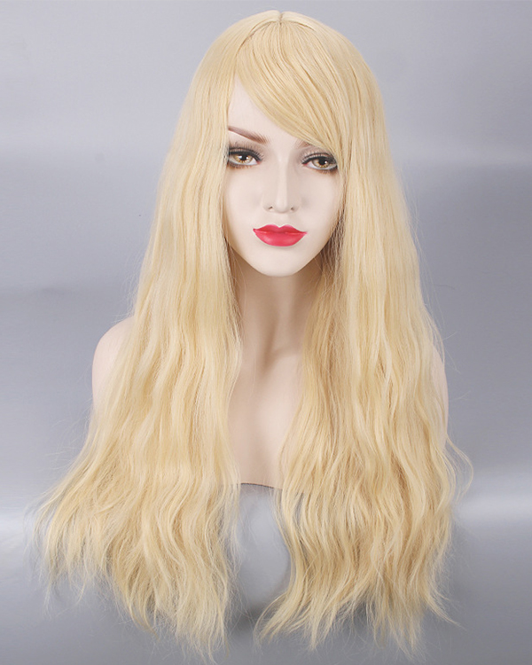 Elegant Blonde Cosplay Wig Long Wavy Costume Wig For Women