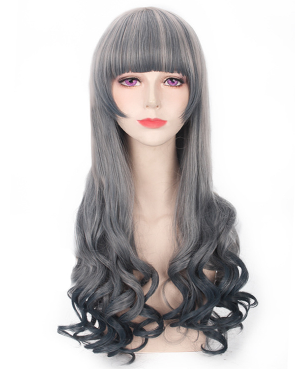 Long Lolita Granny Grey Wavy Cosplay Wig Silver Gray Ombre Costumes Wig For Hallowen Themed Party For Women