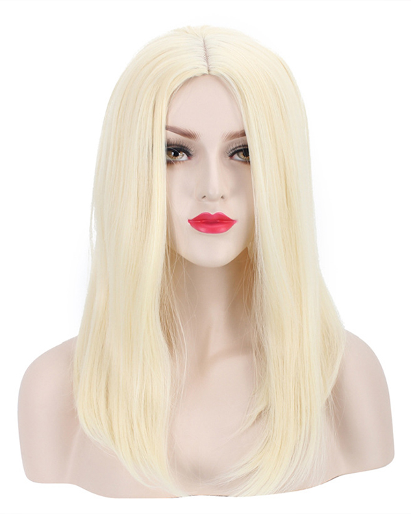 Elegant Middle Part Blonde Cosplay Wig Medium Length Straight Costume Wig For Women Party Wig