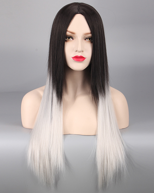 Elegant Black Grey Silver Ombre Cosplay Wig Long Straight Costume Wig For Women Party Wig