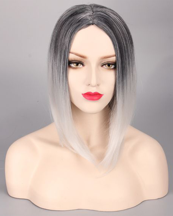 Elegant Black Grey Silver Ombre Cosplay Wig Short Straight Costume Wig For Women Party Wig