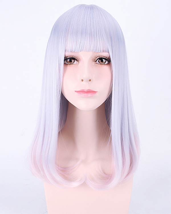 2017 Best Seller Elegant Mermaid Purple Pink Ombre Cosplay Wig Unique Coloring Straight Lolita Costume Wig For Women Party Wig With Bangs
