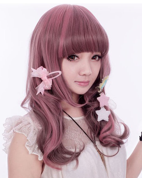 Pink Mixed Lolita Cosplay Wig Wavy Women's Costume Wig