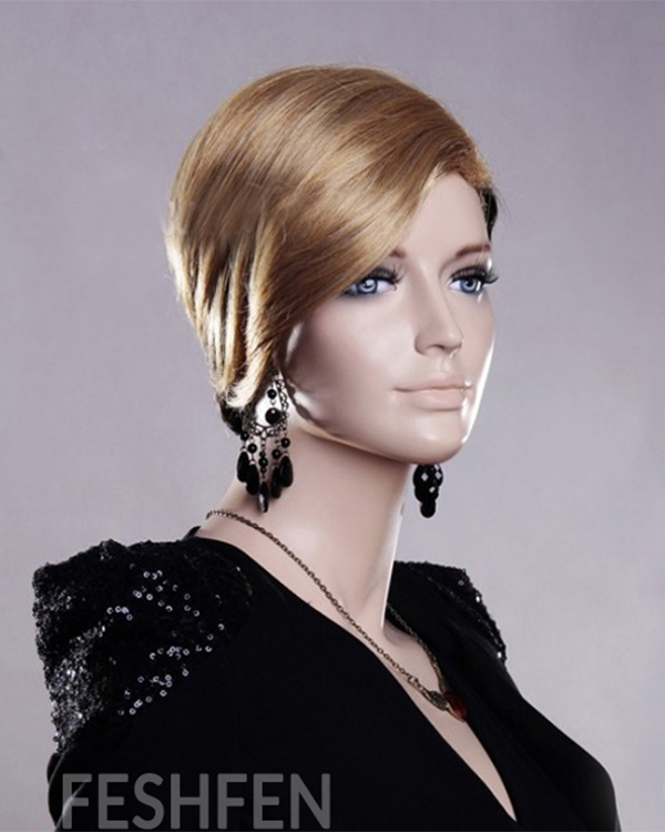 Rihanna Short Blonde Straight Wigs Synthetic Hair Wig