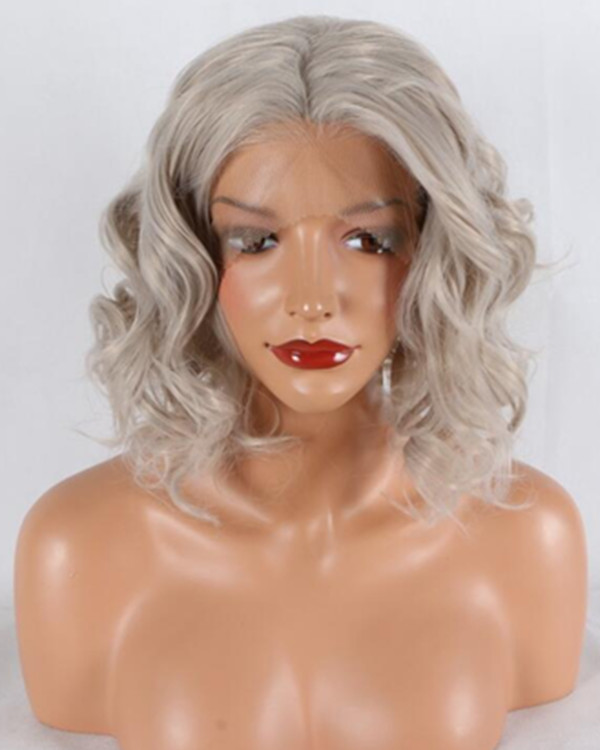 2018 New Arrival Silver Grey Short Wavy Synthetic Lace Front Wig Free Part Grey Lace Wig