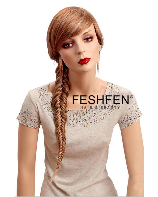 Elegant Princess Blonde Braiding Long Straight Wigs Synthetic Hair Wig