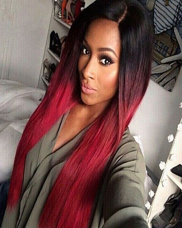 2018 Best Seller Fashion Black Red Ombre Cosplay Wig Long Straight Costume Wig For Women Party Wig