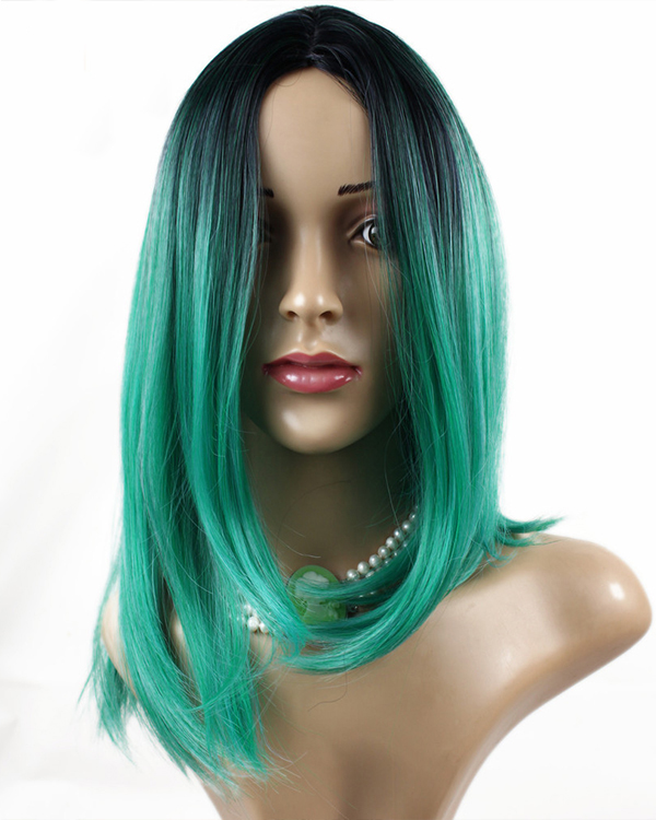 2017 Best Seller Short Bobo Black Ombre Green Color Synthetic Wig Teal Green Straight Cosplay Wig