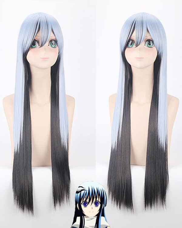 Nurarihyon no Mago Blue Black Long Straight Costume Wig Yuki-onna Cosplay Wig With Bang For Party Wig