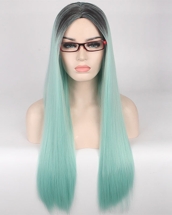 Black Mint Green Ombre Cosplay Wig Long Straight Costume Wig For Women Party Wig