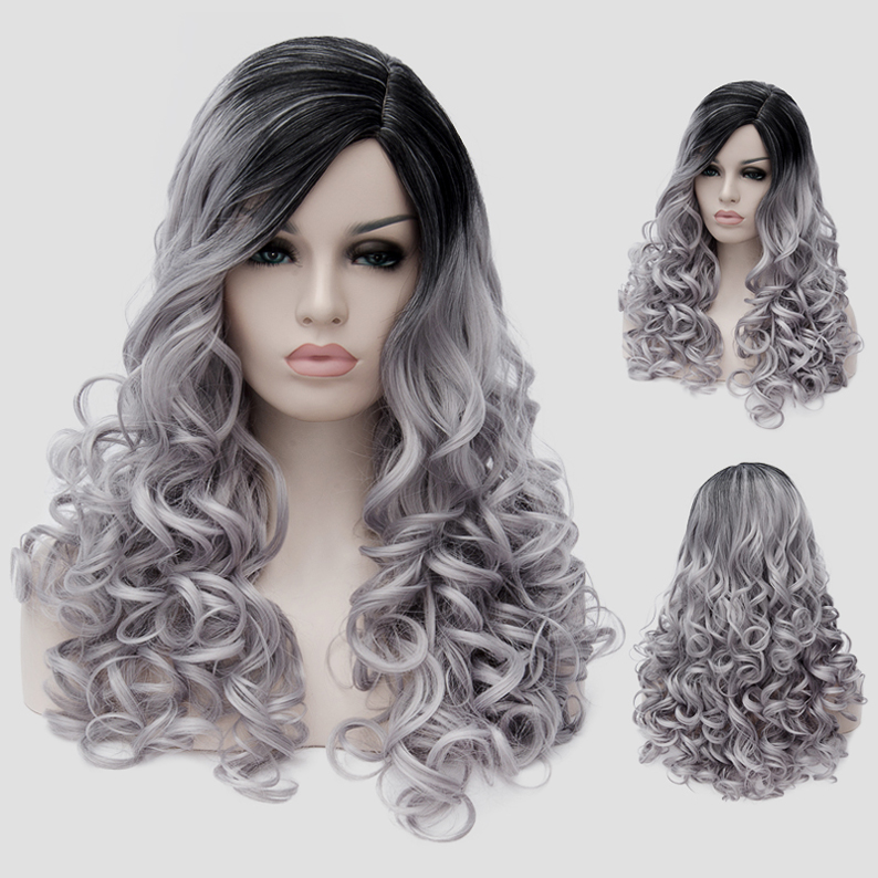 Charming Black Grey Ombre Cosplay Wig Long Wavy Costume Wig For Women Party Wig