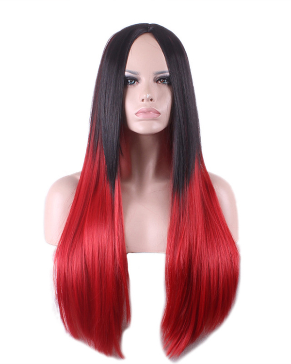 Black Red Ombre Cosplay Wig Long Straight Costume Wig For Women Party Wig