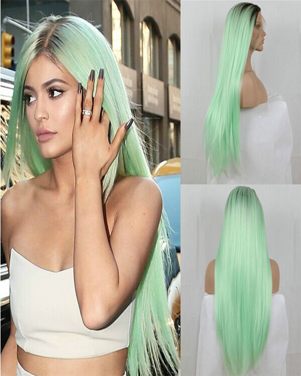 Celebrity Look Black Mint Green Long Wavy Costume Wig For Women Party Wig