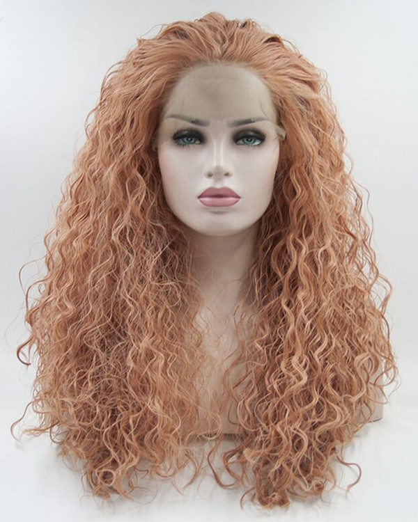 2017 New Arrival Rose Gold Wet Wavy Synthetic Lace Front Wig 180% Density Long Wavy Natural Curly Heat-resistant Lace Wig