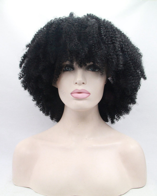 2017 New Black Kinky Curly Synthetic Lace Front Wigs #1B Natural Black Short Curly Wave Hair Wig