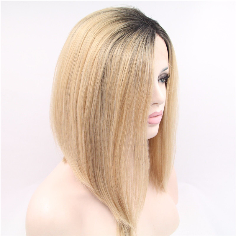 2018 Best Seller Black Blonde Ombre Synthetic Straight Lace Front