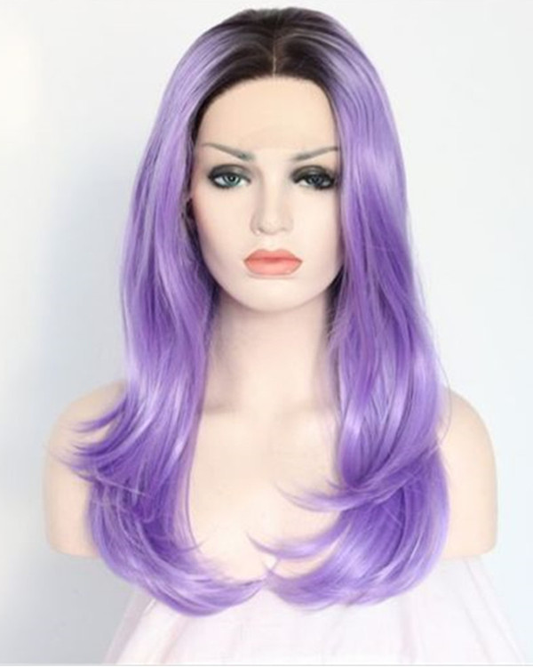 2017 New Black Purple Ombre Synthetic Straight Lace Front Wigs #1B/Purple Ombre Medium Long Violet traight Hair Wig