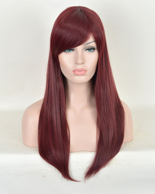 2017 New Burgundy Synthetic Straight Lace Front Wigs #99J Long Straight Deep Wine Red Plum Red Hair Wig