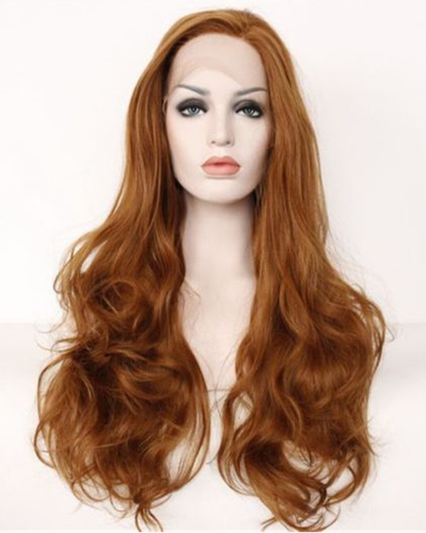 2018 New Light Auburn #30 Long Wavy Synthetic Lace Front Wigs 180% Density Auburn Brown Long Wavy Lace Wig